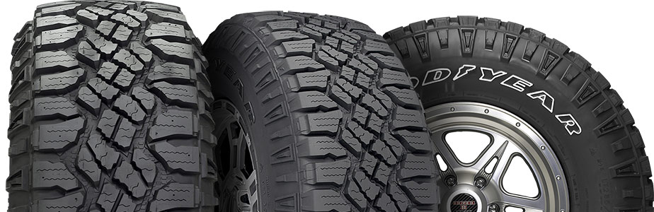 best tires for Bronco - Goodyear Wrangler Duratrac - three views