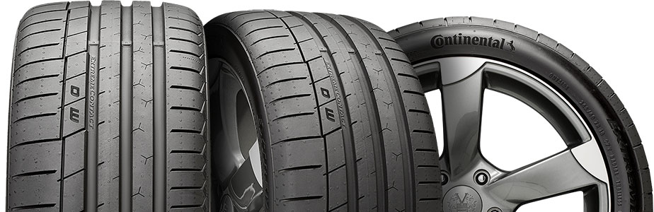 three tire view of continental extreme contact sport
