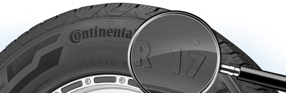tire sidewall with a magnifying glass