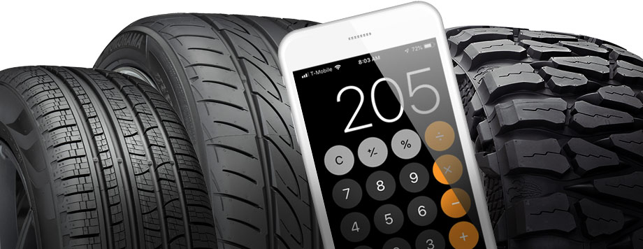 different tire sizes with a calculator