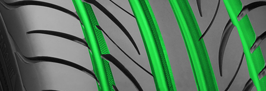 tire tread depth highlighted in green
