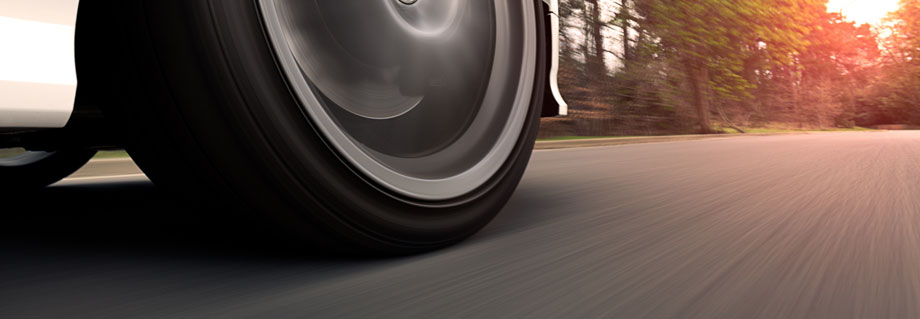 Close up of tire rolling on the road