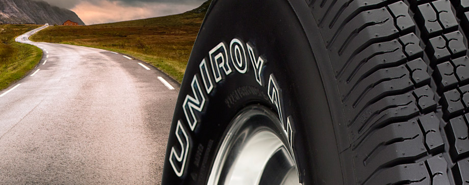 Uniroyal outlined white letterring on truck tire sidewall