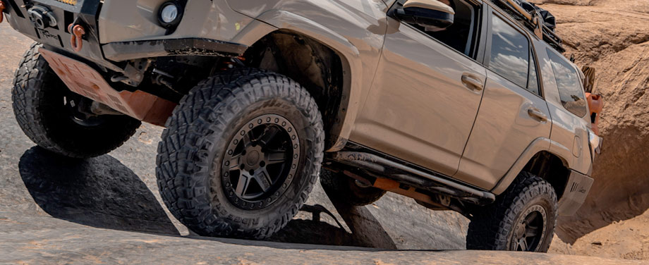 Large off road vehicle with rugged terrain tires