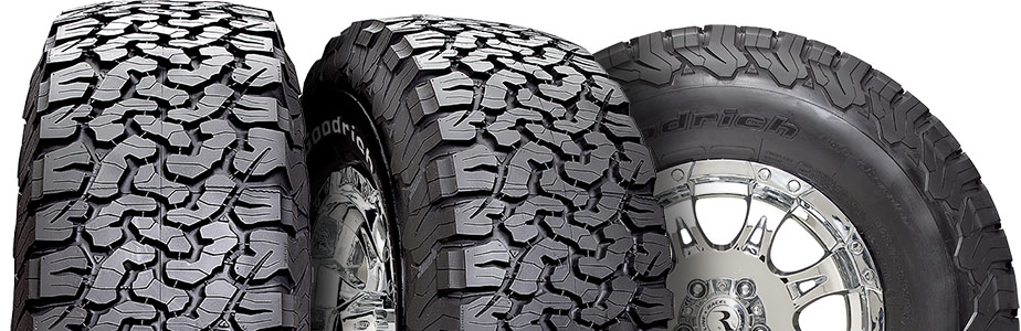 three tire view of bfgoodrich all terrain ko2