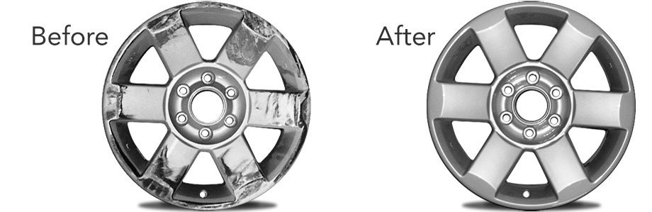 Before and after of a repaired rim