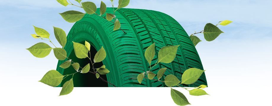 green tire with tree branches