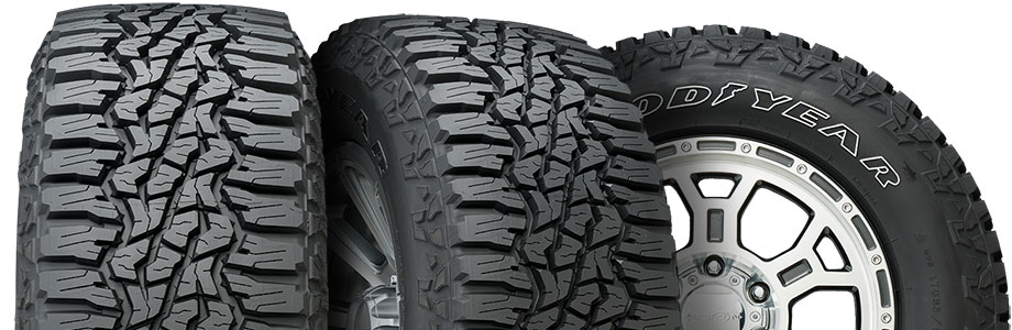 three tire view of goodyear wrangler ultraterrain