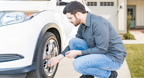 Check your tires' air pressure before driving