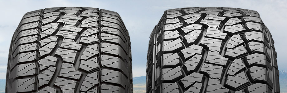 two tires with different outer tread patterns
