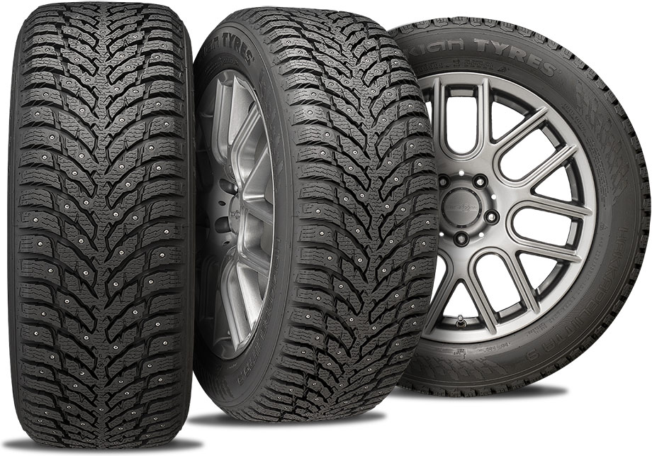 Nokian Hakkapeliitta 9 - studded winter tires - three views