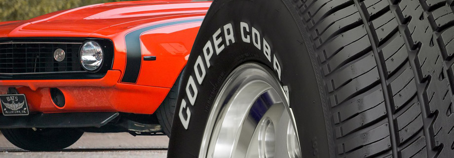 White letter sidewalls on tires: Cooper Cobra tires for a classic muscle car look