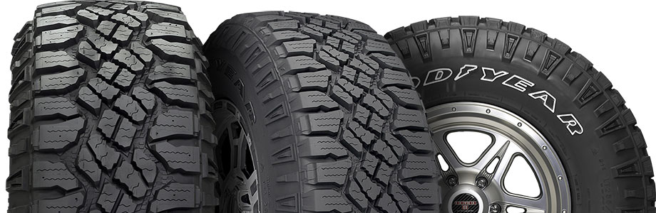 three tire view of goodyear wrangler duratrac