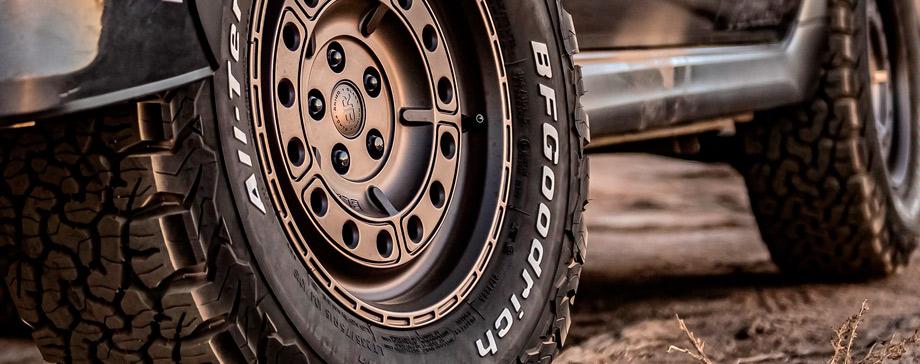 White letter sidewalls on tires: BFGoodrich tires ready for off-roading