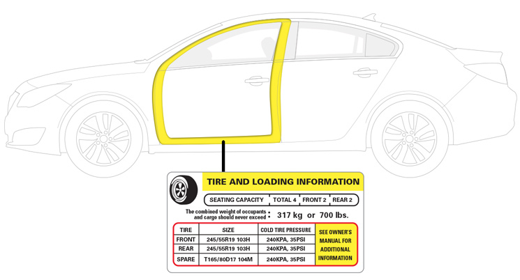 Vehicle door placard with tire specifications
